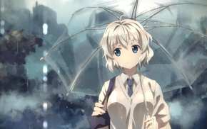 Yuuki Tatsuya, rain, blue eyes, umbrella, anime, original characters