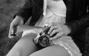 girl, camera, monochrome, model, Canon