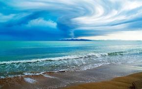 waves, sea, beach, clouds