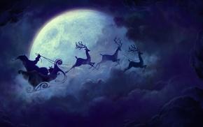Christmas, reindeer, Santa Claus