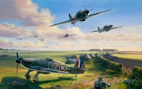 Hawker Hurricane, Battle of Britain, military aircraft, Royal Airforce, Hawker, World War II