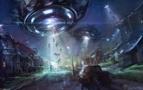 fantasy art, artwork, aliens, spaceship