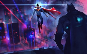artwork, Batman, neon light, DC Comics, Superman