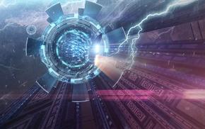 futuristic, spaceship, digital art, artwork