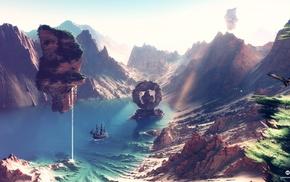 fantasy art, lake, artwork, digital art, planet