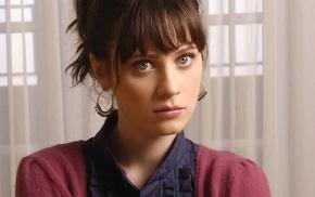 Zooey Deschanel, girl, actress, green eyes, brunette