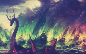fire, Blackwater, boat, fantasy art, colorful, landscape