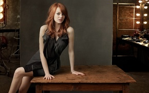 girl, redhead, actress, black dress, model, Emma Stone