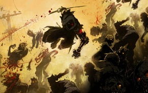 artwork, crow, street, ninja gaiden z, warrior, zombies