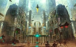 futuristic, robot, city, spaceship, artwork