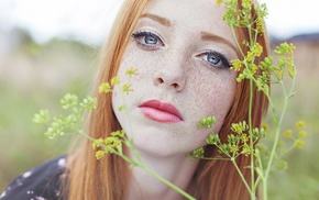 girl, depth of field, looking at viewer, girl outdoors, plants, blue eyes
