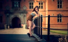 brunette, girl, sneakers, tank top, short skirt, girl outdoors