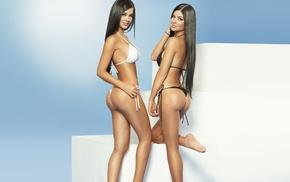 ass, girl, Mariana Davalos, twins, brunette, long hair