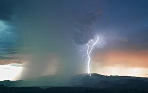 sky, rain, hill, lightning, storm, mountain