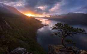 snowy peak, sunset, Norway, landscape, trees, mist