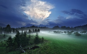 mist, spring, mountain, Germany, grass, evening
