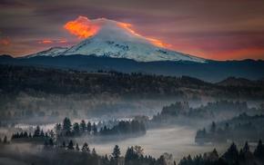 volcano, sunset, sky, trees, Oregon, mist