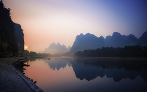 calm, China, water, mist, reflection, mountain