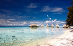 bungalow, resort, tropical, sea, sand, nature