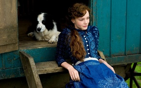 dog, Carey Mulligan, blue dress, long hair, dress, actress