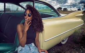 model, car, girl, smoking