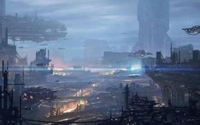 artwork, city, futuristic, spaceship