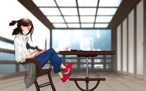 chair, table, computer, city, anime girls