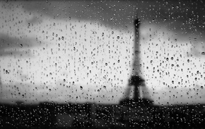 Paris, rain, Eiffel Tower, water on glass