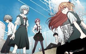 Neon Genesis Evangelion, Nagisa Kaworu, anime, Ikari Shinji, Asuka Langley Soryu, Ayanami Rei