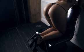 chair, high heels, girl, black heels, ass, kneeling