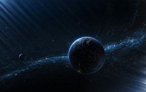 Earth, space, planet, Milky Way, space art