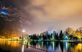 night, nature, lake, mountain, city, trees