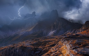 lightning, storm, nature, Dolomites mountains, mountain, clouds