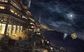 sky, castle, city, sea, moon, night