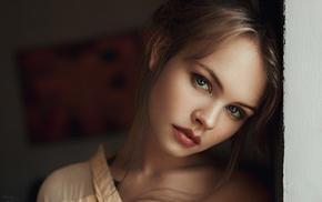Anastasia Scheglova, face, hair, hair bun, Georgiy Chernyadyev, auburn hair