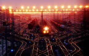 night, traffic lights, digital art, train station, train, rail yard