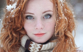girl outdoors, face, scarf, Freyja Vanden Broucke, redhead, pale