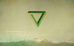 green, mountain, geometry, Penrose triangle