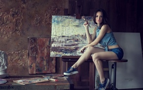 painting, sitting, girl, sneakers, jean shorts