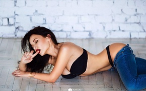 girl, Angelina Petrova, Pants down, finger in mouth, thong, on the floor
