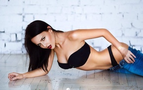 thong, Pants down, looking at viewer, Angelina Petrova, black bras, on the floor