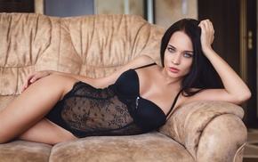 curvy girl, girl, Angelina Petrova, black lingerie, couch