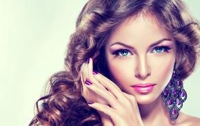 artwork, blue eyes, closeup, brunette, makeup, face