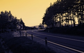 road, landscape, road sign, sunset, trees, shadow