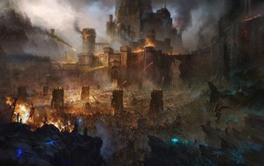 fantasy art, fire, battle, army, artwork, castle