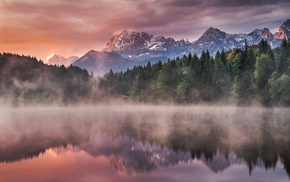 mist, clouds, landscape, nature, sunrise, lake