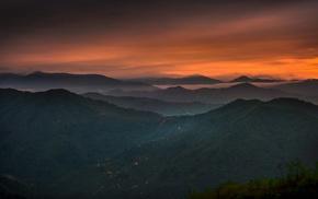 mist, Turkey, forest, lights, clouds, sunset