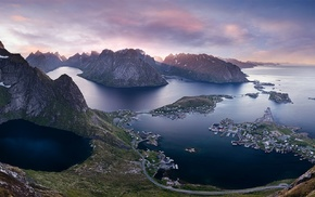 summer, landscape, sea, panoramas, Norway, town