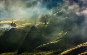 Romania, fence, sunrise, nature, house, trees