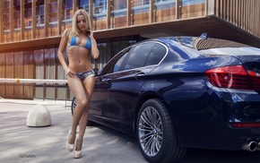 jean shorts, girl with cars, BMW, tattoo, girl, high heels